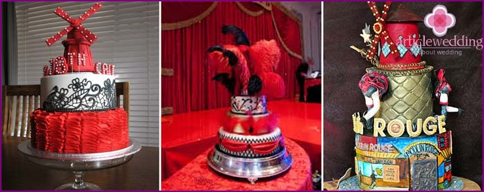 Bright cakes for a Moulin Rouge wedding