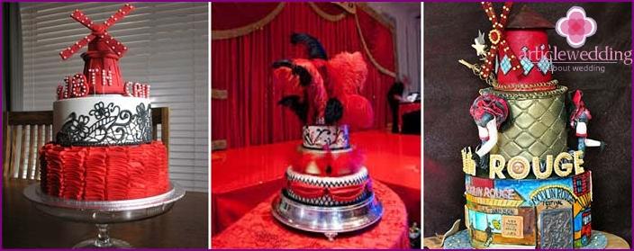 Helle Kuchen für eine Moulin Rouge Hochzeit