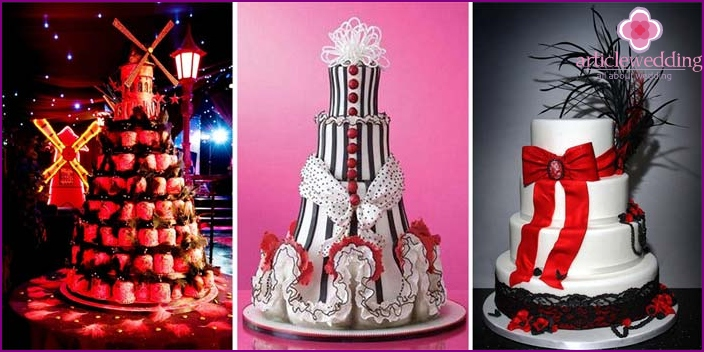 Cakes for a wedding in the style of the Moulin Rouge