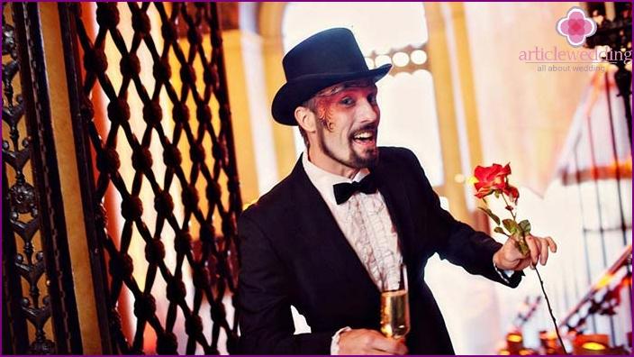 Groom at a theme wedding