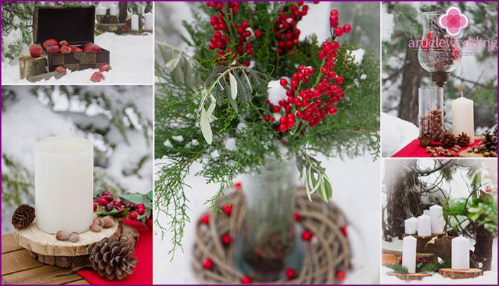 The main colors and decor for a wedding in winter