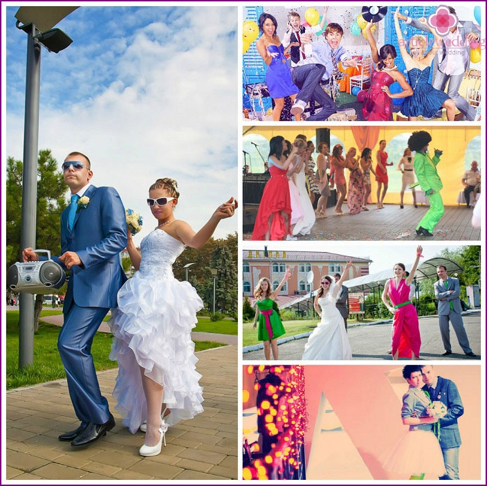 Wedding photo session in the style of disco