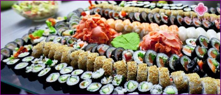 Sushi for japanese wedding menu