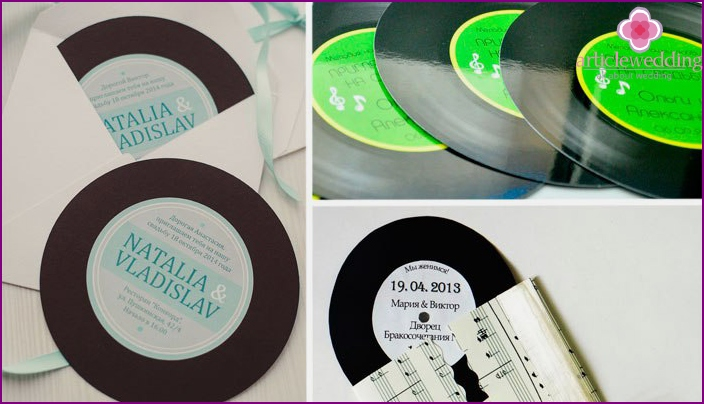 60s wedding invitations in the form of records