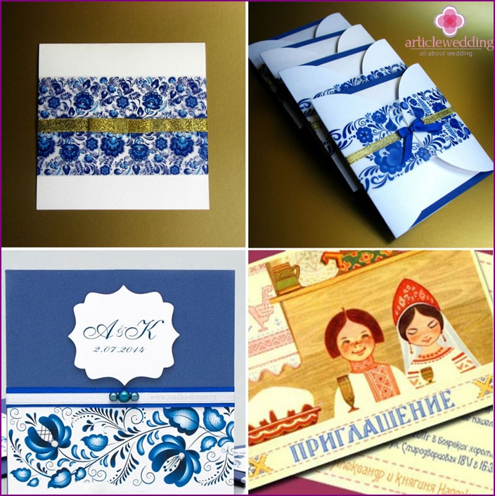 Gzhel style wedding invitations