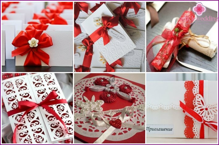White - red gamut for thematic invitation cards