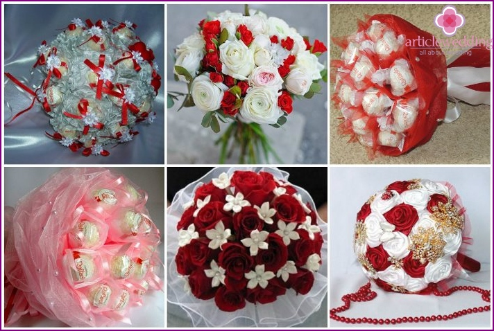 White-red bridal bouquet