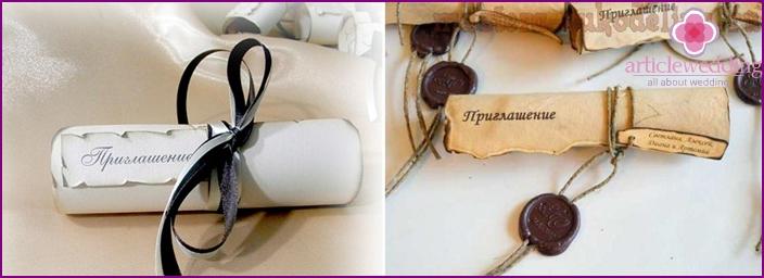 Weinlesekarte in Form eines alten Briefes