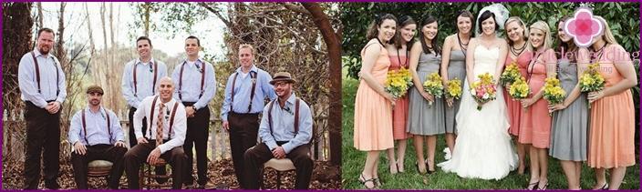 Gäste bei einer Hochzeit im Vintage-Stil.