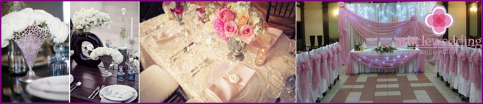 Vintage style wedding table decoration
