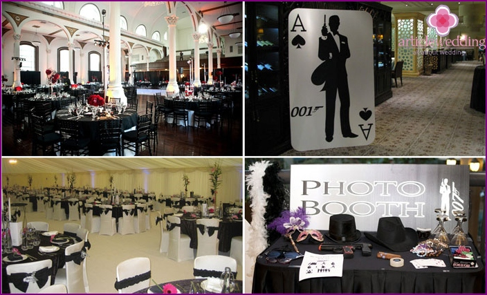 Restaurant decor for a wedding in the style of James Bond