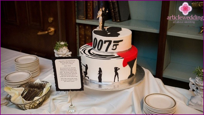 Cake for a wedding in the style of a special agent