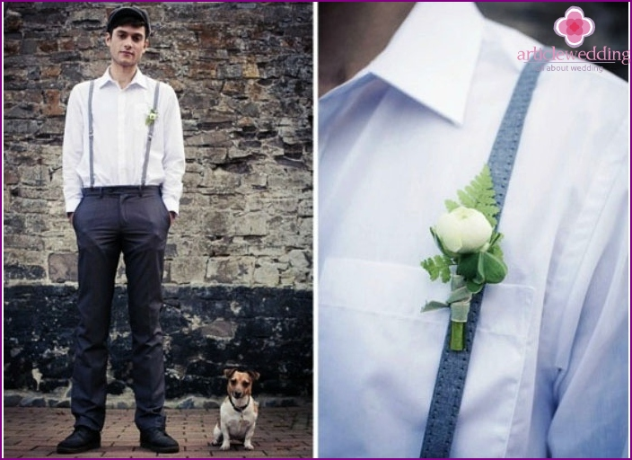 The image of the groom for an Irish wedding