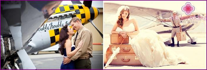 Aviation-themed wedding photo shoot