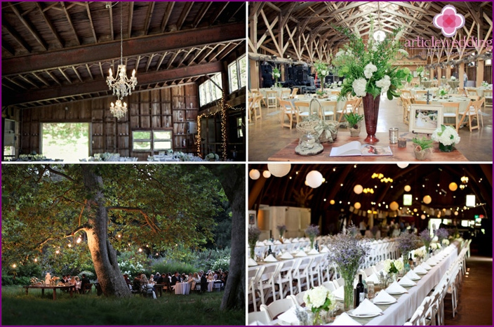 Design options for a banquet hall for a rustic wedding