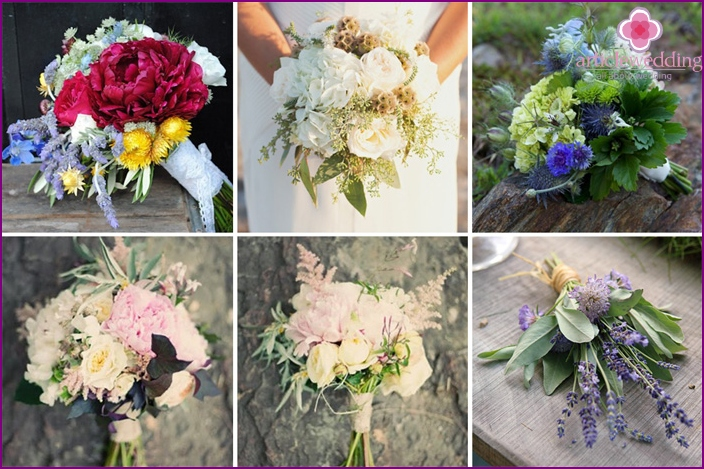 Charming bouquets of the bride in a rustic style