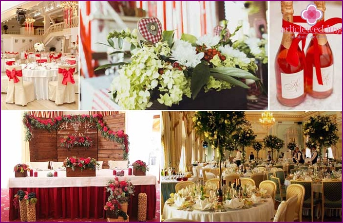 Spanish style decor of banquet rooms for a wedding