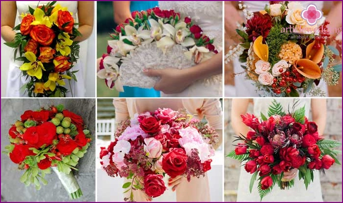 Interesting options for bright bouquets for the bride