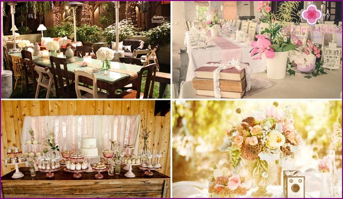 Shabby chic palette for decorating a banquet hall