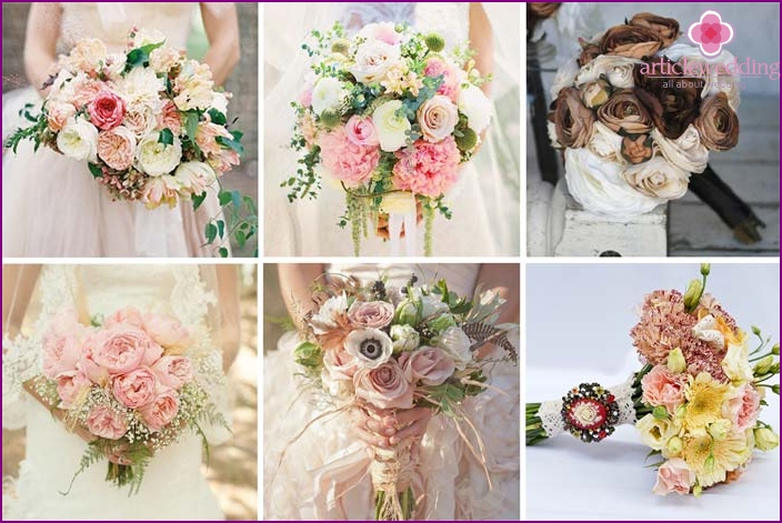 Bouquets of the bride in the style of Shabby chic