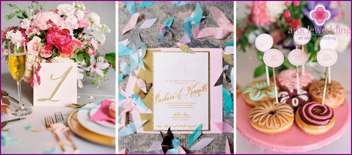 Design elements for the celebration in gentle colors.