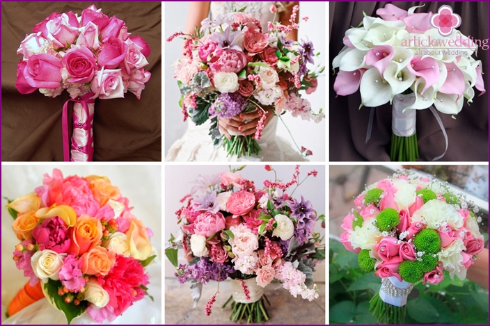 Pink bouquets of the bride in the style of Barbie