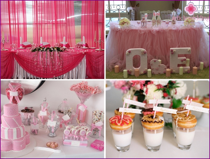 Decoration for the celebration in pink.