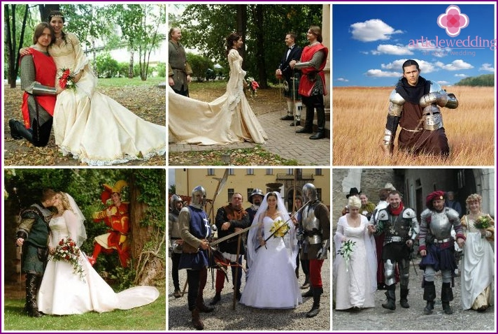 Outfit of the groom in knightly armor