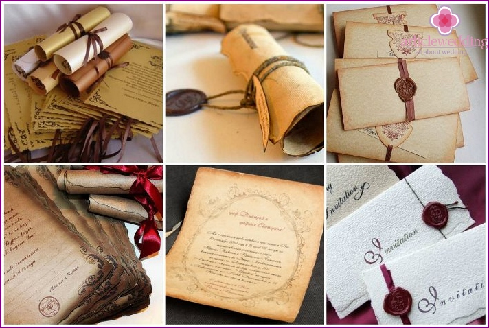 Wedding invitations in the form of scrolls