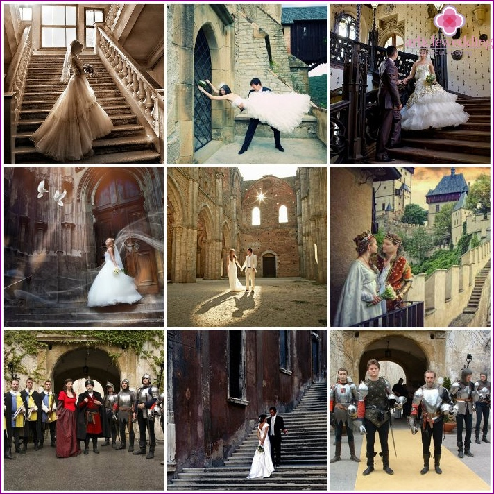 Photoshoot of the bride and groom in the castle