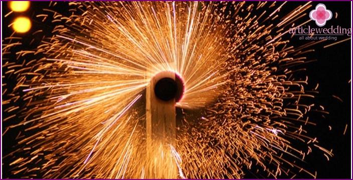 Fireworks wedding celebration in china
