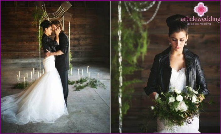 Wedding image of the newlyweds in the style of rock and roll