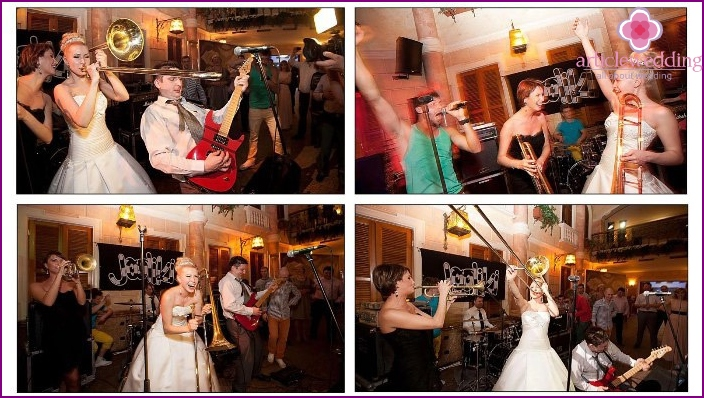 Musical atmosphere of rock and roll at a wedding