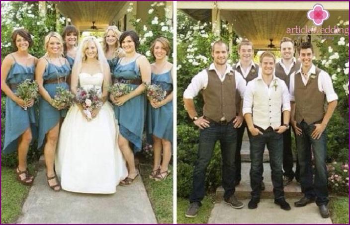 Denim Hochzeit in der Natur