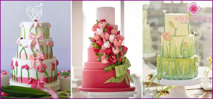 Wedding cake with tulips