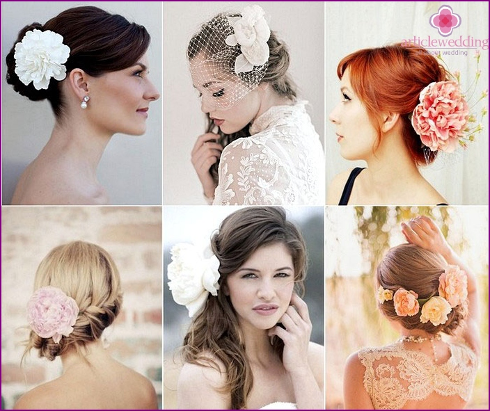 Hairstyle of the bride with living peonies