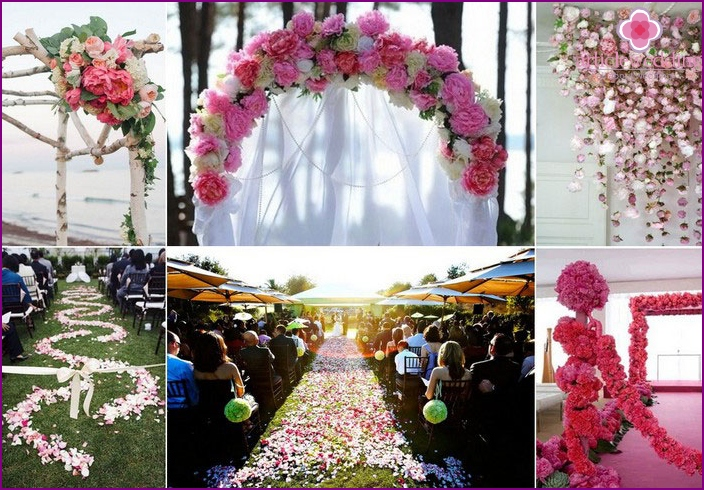 Registration by peonies of an exit ceremony
