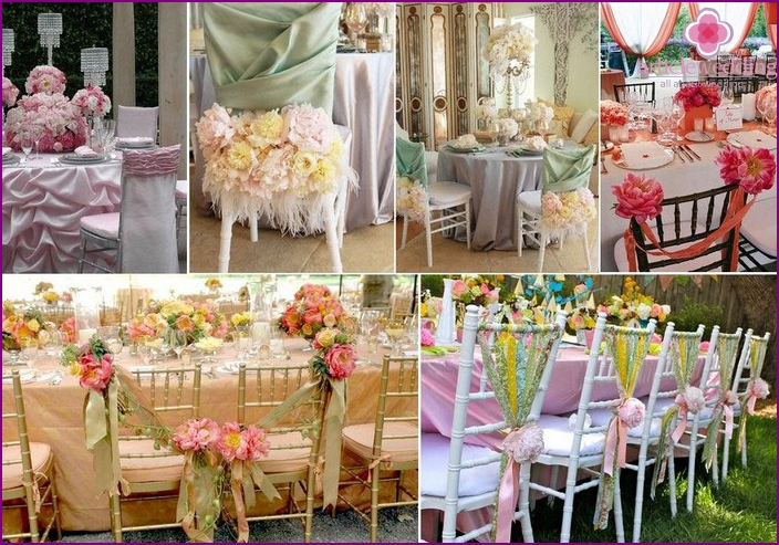 Decor of chairs peonies at a wedding