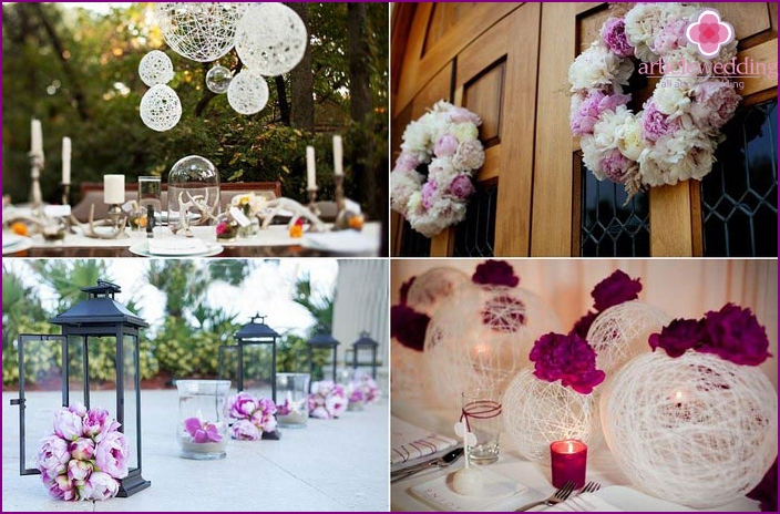 Decoration of a wedding party with peonies