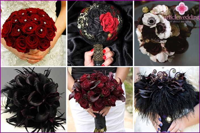 A bouquet of a gothic bride should be combined with a dress
