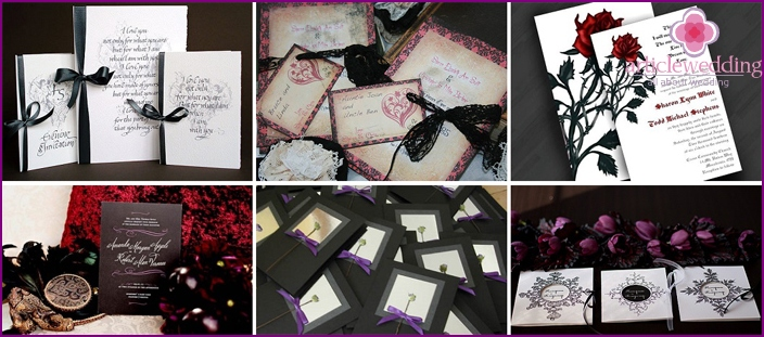 Wedding invitations in red and black