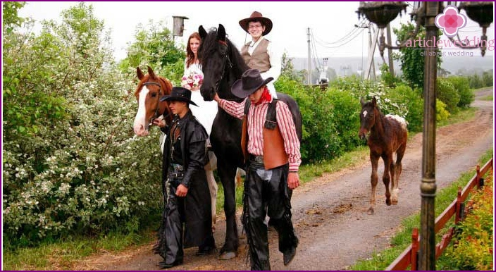 Cowboy Wedding Procession