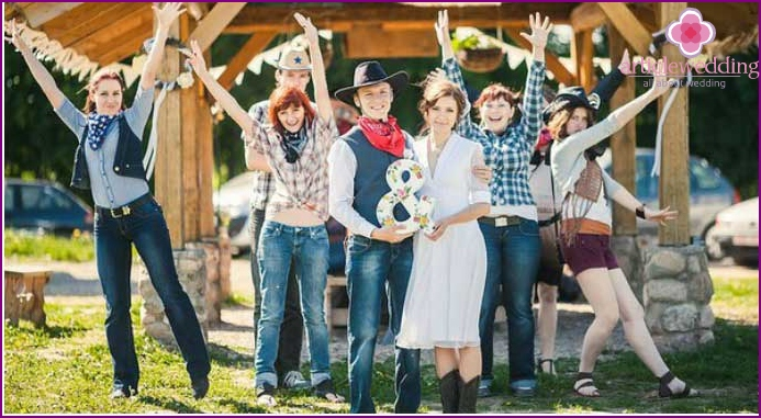 Cowboy outfits for wedding guests and honeymooners