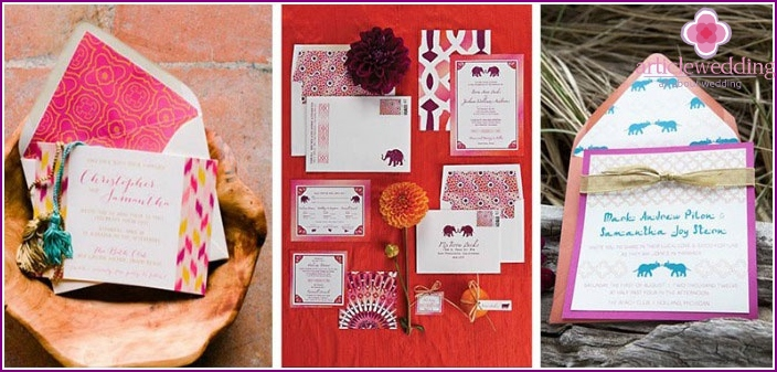 Invitation cards in the style of Morocco.