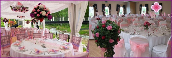 European wedding decoration in pink