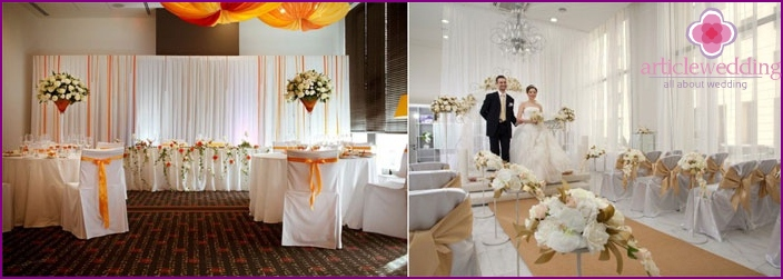 The color scheme of the hall for a European wedding