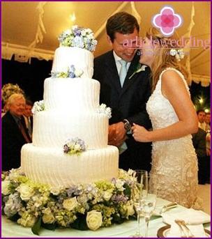 The culmination of a European wedding - a huge cake