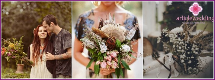 Bridal bouquet in a forest style