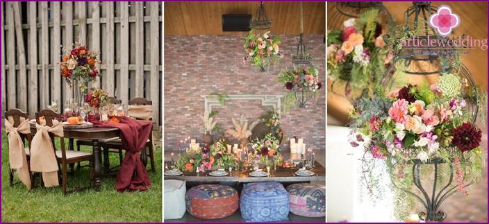 Boho style wedding decor