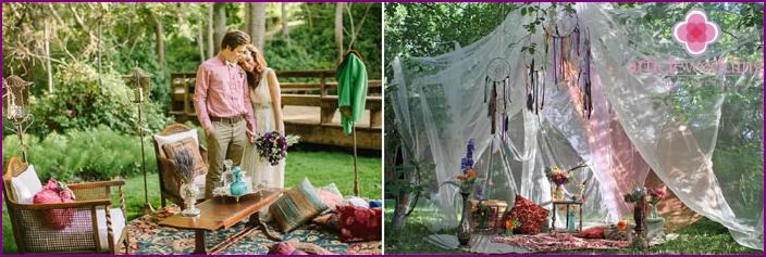 Boho style wedding photography